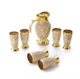7PCS 수공예 황금 도금 마시는 유리 그릇 세트