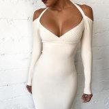 Frauen-Schulter-Verband-Kleid Bodycon Kleid-lange Hülsen-Form-beiläufiges Kleid