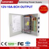 alimentazione elettrica di commutazione dell'uscita di 12V 10A 9CH per la macchina fotografica del CCTV