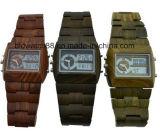 Waterproof Analog Digital Relógios de pulso de madeira para homens