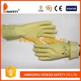 Ddsafety 2017 Light Yellow Latex Household Gloves Unlined dia. moon Grip roll Cuff