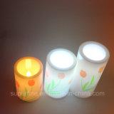 Prodotti senza fiamma di plastica all'ingrosso ornamentali della candela della colonna LED del tulipano di natale