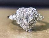 Comercio al por mayor Silver Heart anillo con la configuración del clúster