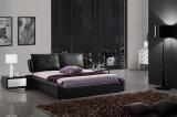 Weißes echtes modernes Schlafzimmer-Möbel-Leder-Bett-weiches Bett (HC179B)