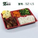 Kasten-sicherer Plastiknahrungsmittelwegwerfbehälter des Mittagessen-5-Compartment mit Kappe