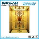Elevatore di lusso del passeggero con lo specchio dorato che incide acciaio inossidabile