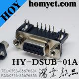 Conector fêmea D-SUB DIP de 9 pinos de ângulo reto de 90 graus