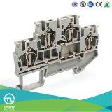 Conetor dos blocos terminais Jut3-4/2 de Dinrail da mola