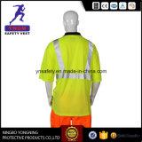 100% de tecido de malha de poliéster reflexo T Shirt de segurança EN20471