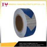 Dispositif avertisseur r3fléchissant de sûreté de flèche de PVC, blanc/bleu