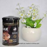 Kundenspezifisches rundes kleines Tee-Zinn mit Draht-Verschluss, Tee-Zinn mit Plastikkappe