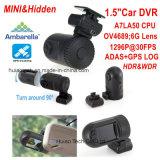 Mini Ambrella A7la50 GPS Asds Car DVR com 1,5 polegadas tela HD TFT, Google Map Tracking, Receptáculo de resolução de vídeo de 2k, Hdr 1296p Black Box, controle de estacionamento DVR-1512
