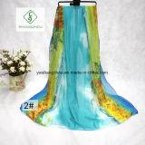 Scialle L signora Silk Scarf della spiaggia stampato transizione dell'acquerello di modo