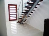 Escaleras de la escalera recta de cristal/del acero inoxidable