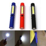 COB LED lampe torche portative avec clip magnétique pour camping