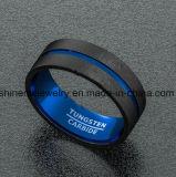 Monili opachi dell'anello del tungsteno della parte esterna del nero della parte interna dell'azzurro