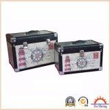 Weinlese-Art hölzerner Koffer mit Leinendruck-und Aluminium-Blatt