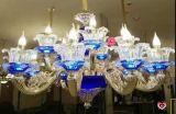 Lustres en cristal en alliage de zinc d'or en verre bleus de canard
