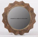 Espelho de parede redonda em estilo americano de madeira estilo americano