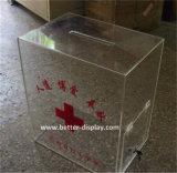 Изготовленный на заказ акриловая коробка пожертвования с замком (BTR-Y1035)