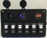 6 Gruppe-Wippenschalter-Panel mit Netzdose +Double Digital-Voltmeter+12V Hintergrundbeleuchtung des USB-Energien-Aufladeeinheits-Adapter-wasserdichter Blau-LED für Auto-Schlussteil-Marine-Boot