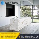 Partie supérieure du comptoir artificielles de pierre de quartz avec la veine de marbre pour la pierre conçue