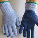 Голубой латекс покрытием серого 10 указатели хлопка Woring перчатки