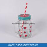 disegno del cactus 16oz/fenicottero con il vaso di muratore di vetro del coperchio del metallo