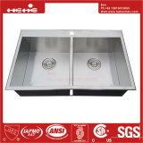 ハンドメイドの流し、ステンレス鋼の上の台紙の同輩の倍ボールのハンドメイドの台所の流しの低下