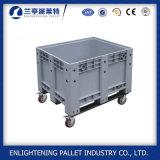 caixa de pálete plástica resistente de 1200X1000X760mm com roda e tampa