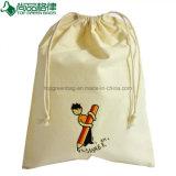 Kundenspezifischer weißer Baumwolldrawstring-Beutel-gedruckter Zeichenkette-Geschenk-Beutel-Halter