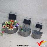 Vintage metal Zinc al aire libre flor ollas con tablero de mensajes