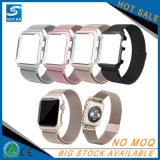 Venda de reloj de acero de la correa de Stailess del bucle milanés + marco del metal para el reloj de Apple