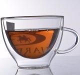 Tazze di tè di vetro doppie della tazza di caffè di abitudine 250ml /350ml/450ml del fornitore
