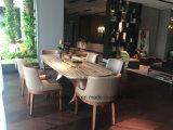 Mobiliario de casa de madera mármol natural de la mesa de comedor