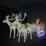 Luz bonita dos cervos do diodo emissor de luz Papai Noel do RGB da decoração ao ar livre do Natal