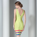 Parte posterior sin mangas atractiva de señora V Neck Bandage Skirt