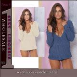 Camisola de pulôver com pescoço profundo com mulheres femininas (TGLDS6189)