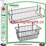 Supermercado cesta de malla de alambre colgante para la barra de cruce de estantería