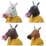 Creepy parte blanda de lujo Unicornio Halloween Máscara de cabeza de látex de carnaval