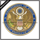 Цинкового сплава 3D монеты с двух сторон логотип с бронзовыми Finish (BYH-10806)