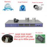 完全なギガビット24 2 SFPのアップリンクポート内部最大400W力のアダプターのサージの保護のポートPoeのネットワークスイッチ