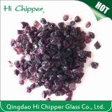 Lanscapingのガラス砂によって押しつぶされる暗い紫色ガラスは装飾的なガラスを欠く