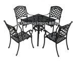 Mesa redonda da mobília ao ar livre do alumínio de molde do lazer da qualidade que janta o jogo no preto