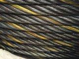 Corde jaune noire 6X37+FC de fil d'acier de brin
