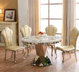 의자를 가진 좋은 품질 둥근 까만 대리석 식탁