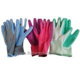 Guanto di giardinaggio del lavoro ricoperto palma blu del nitrile dei guanti delle signore