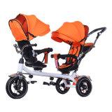 Carrinho de bebé triciclo com Barra de Impulsão crianças triciclo de gêmeos