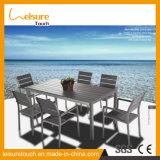 El mejor conjunto de tamaño mediano exquisito del vector de cena de los muebles del jardín del hogar/del hotel/del restaurante con los muebles al aire libre de madera plásticos de mimbre de aluminio anodizados de Textilene