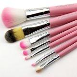 nuevo conjunto de cepillo del maquillaje 7PCS con la caja del hierro del gatito del color de rosa hola